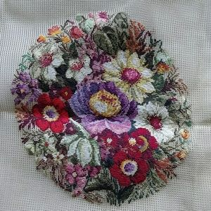 Vintage preworked crewel flower bouquet oval